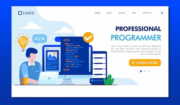 Plantilla de sitio web de página de destino para programadores profesionales