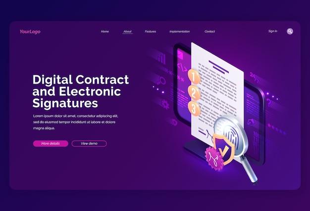 Plantilla de sitio web. página de inicio isométrica de contrato digital y firma electrónica, firma electrónica en el documento en la pantalla de la pc con huella digital, escudo y lupa