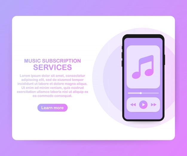Plantilla de sitio web de página de servicios de suscripción de música. vector isométrico smartphone con auriculares. ilustracion vectorial