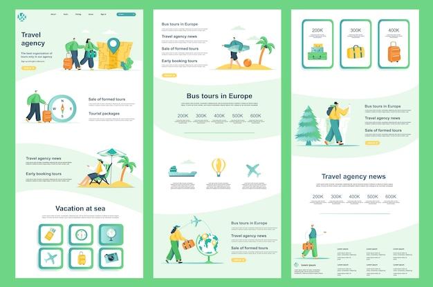 Plantilla de sitio web plano de agencia de viajes, página de destino, contenido medio y pie de página