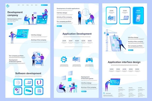 Plantilla de sitio web plano de empresa de desarrollo, página de destino, contenido medio y pie de página