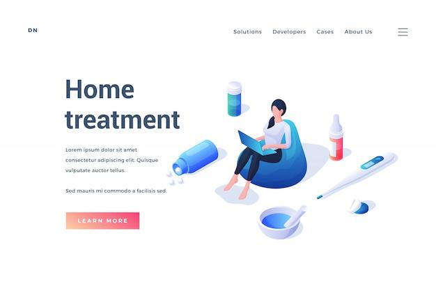 Plantilla de sitio web que promueve información sobre tratamiento médico en el hogar