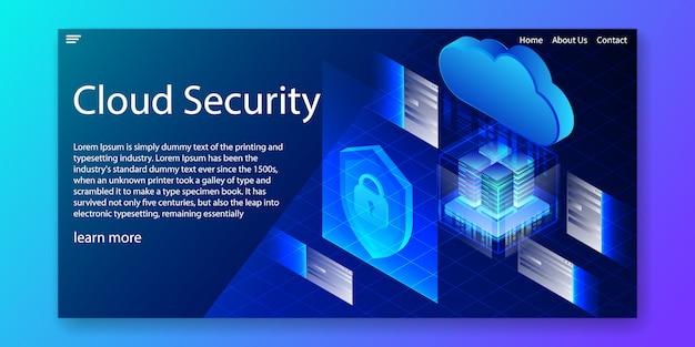Plantilla de sitio web de seguridad en la nube isométrica.