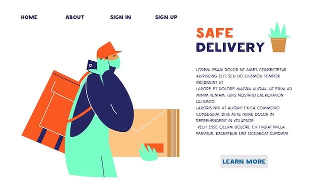 Plantilla de sitio web de servicio de entrega segura. mensajero con máscara protectora y guantes.
