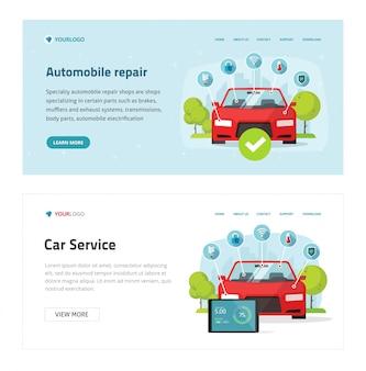 Plantilla de sitio web de servicio de prueba de automóvil o diagnóstico de automóvil, banner de página de destino de herramientas de diagnóstico electrónico y vehículo de dibujos animados, taller o estación de mantenimiento de reparación