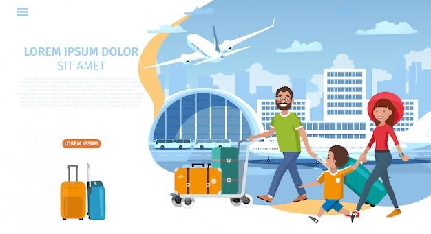 Plantilla de sitio web de vector de dibujos animados de la compañía aérea