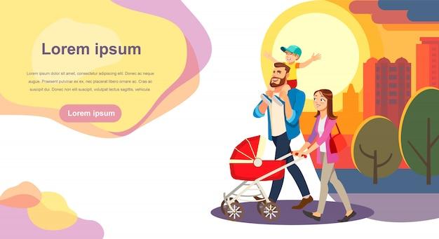 Plantilla de sitio web de vector de dibujos animados feliz día de la familia