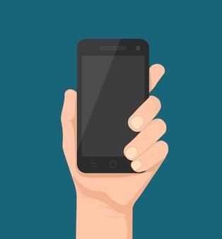 Plantilla de smartphone en mano para aplicaciones web y móviles