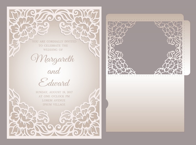 Plantilla de sobre de bolsillo de invitación de boda con corte láser. diseño de marco floral.