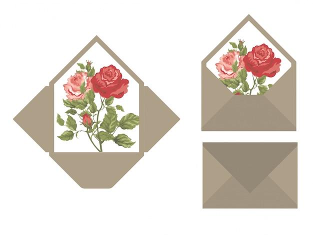 Plantilla de sobre de invitación de boda