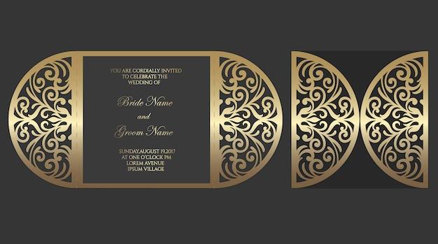 Plantilla de sobre plegado con puerta de corte láser para invitaciones de boda.
