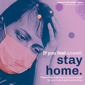 Plantilla social de estancia en casa durante la pandemia de coronavirus