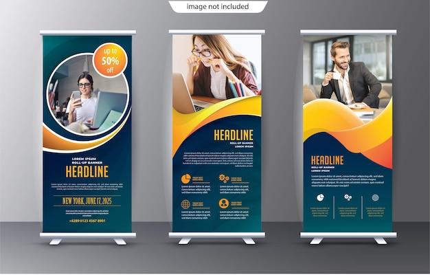 Plantilla de soporte de exhibición enrollable para fines de presentación y publicidad.