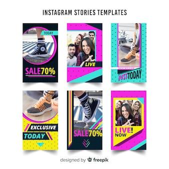 Plantilla de stories de instagram colorido