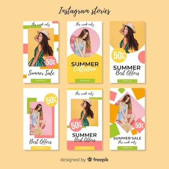 Plantilla de stories de instagram de rebajas de verano