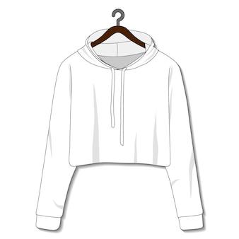 Plantilla de sudadera con capucha femenina aislada sobre fondo blanco