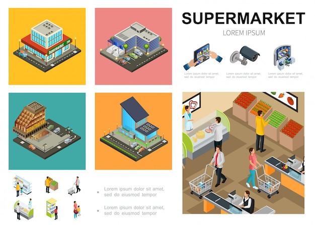 Plantilla de supermercado isométrica con exterior del centro comercial clientes de sistema de videovigilancia que compran diferentes productos en el hall del hipermercado