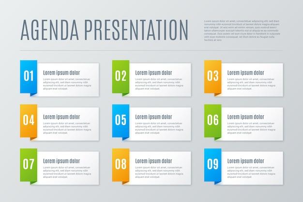 Plantilla con tabla de agenda para infografía