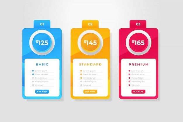 Plantilla de tabla de precios colorida moderna