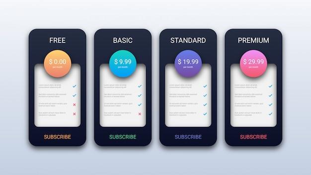 Plantilla de tabla de precios moderna para empresas