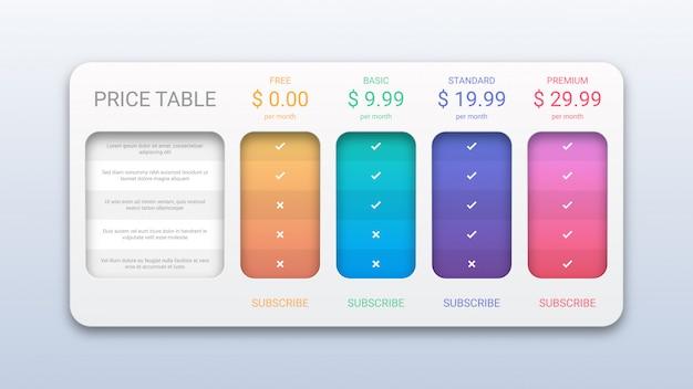 Plantilla de tabla de precios moderna para sitio web y aplicación