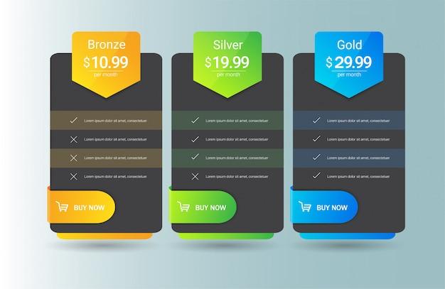 Plantilla de tabla de precios moderna tres opciones