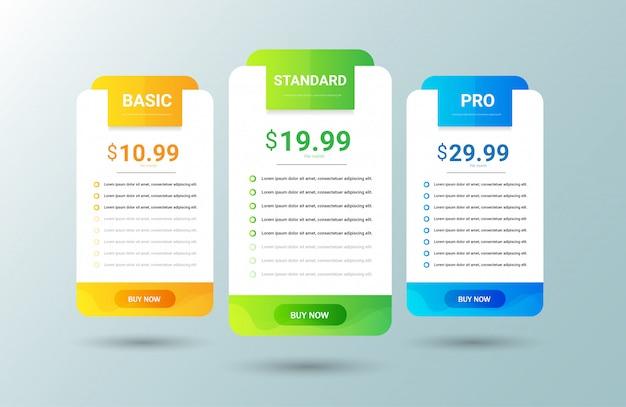 Plantilla de tabla de precios moderna