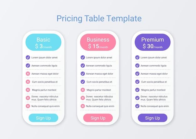 Plantilla de tabla de precios. planes de comparación de datos. cuadrícula de gráfico de precios. página de hoja de cálculo.