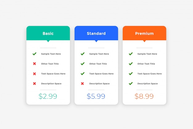 Plantilla de tabla de precios simple y limpia para el sitio web