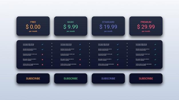 Plantilla de tabla de precios simple para negocios