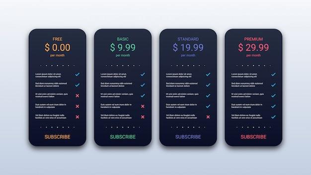 Plantilla de tabla de precios simple para sitio web y aplicación