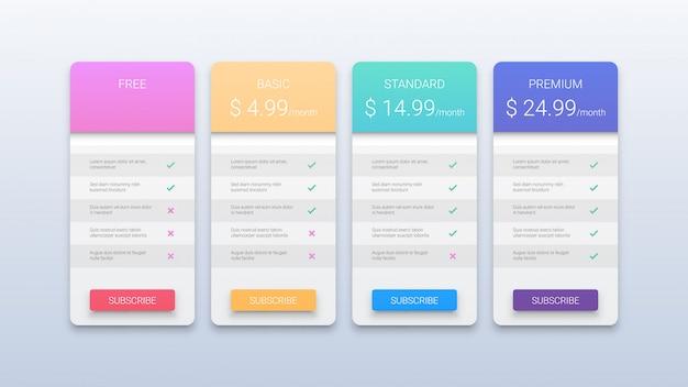 Plantilla de tabla de precios para sitios web y aplicaciones con cuatro opciones