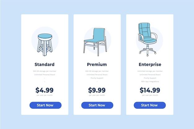 Plantilla de tabla de precios, tabla de precios de vector de silla