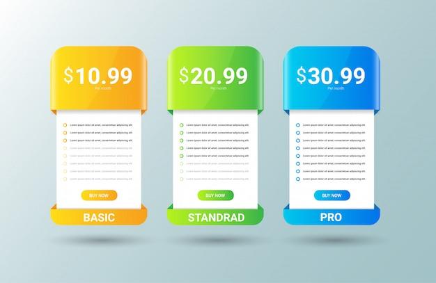 Plantilla de tabla de precios