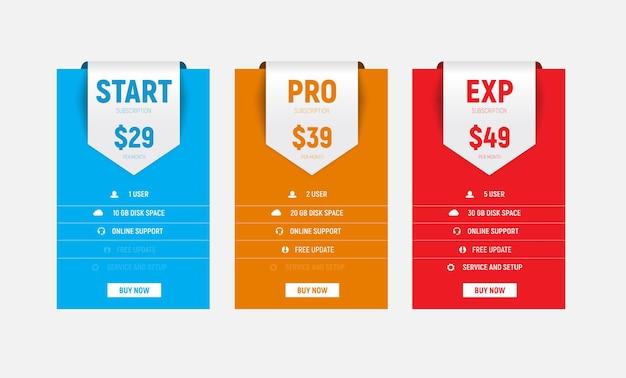 Plantilla de tablas de precios de vector multicolor con una cinta de flecha para el título.