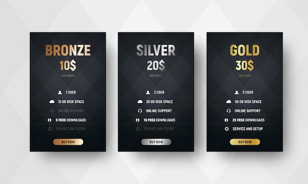 Plantilla de tablas de precios de vector premium con fondo negro con rombos. diseño de banners de bronce, plata y oro para sitios web. conjunto