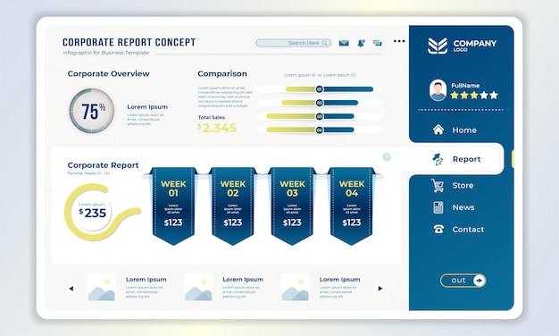 Plantilla de tablero con concepto de informe corporativo