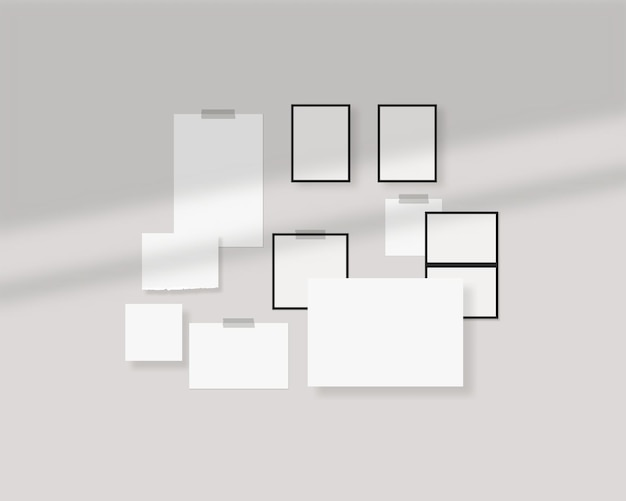 Plantilla de tablero de estado de ánimo hojas vacías de papel blanco en la pared con superposición de sombras