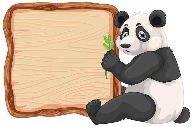 Plantilla de tablero con panda lindo sobre fondo blanco