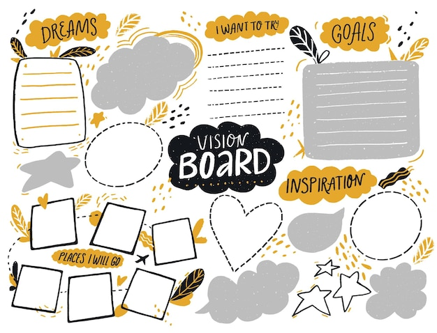 Plantilla de tablero de visión con espacio para la lista de objetivos, planes de viaje e inspiración, página de collage journal