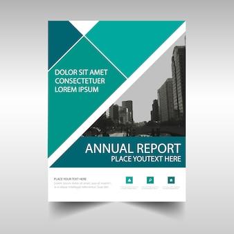 Plantilla de tapa de libro verde de reporte anual