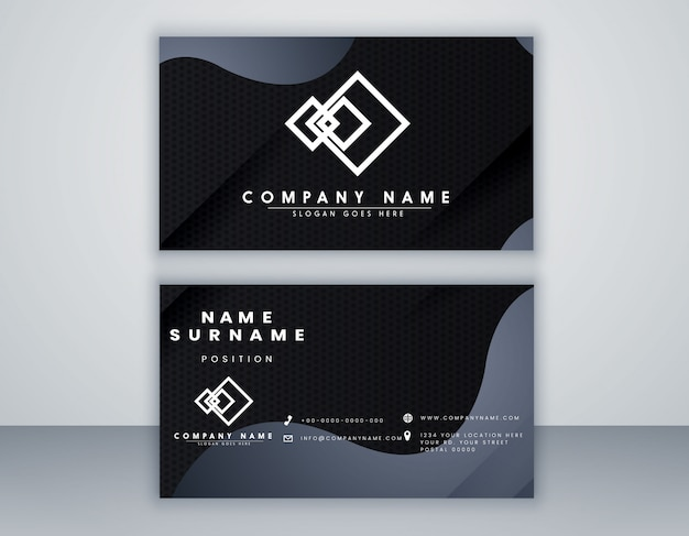Plantilla de tarjeta abstracta color negro y gris mínimo