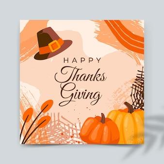 Plantilla de tarjeta de acción de gracias cuadrada