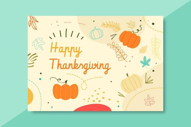 Plantilla de tarjeta de acción de gracias con saludo y calabazas