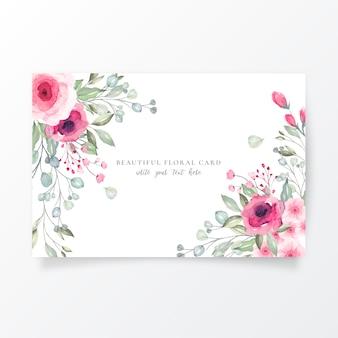Plantilla de tarjeta de acuarela con flores preciosas