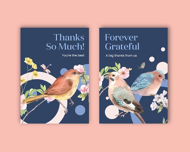 Plantilla de tarjeta de agradecimiento con aves y concepto de primavera