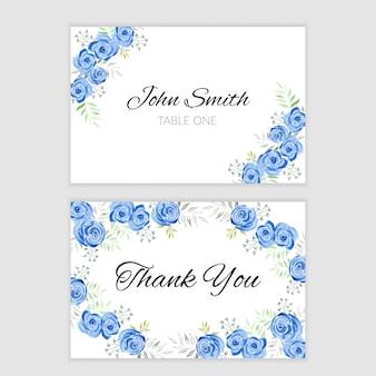 Plantilla de tarjeta de agradecimiento con decoración de flores de acuarela