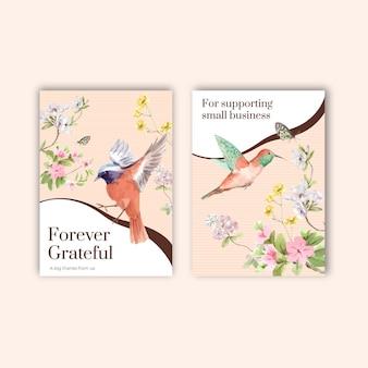 Plantilla de tarjeta de agradecimiento con diseño de concepto de primavera y pájaro para ilustración acuarela de saludo e invitación