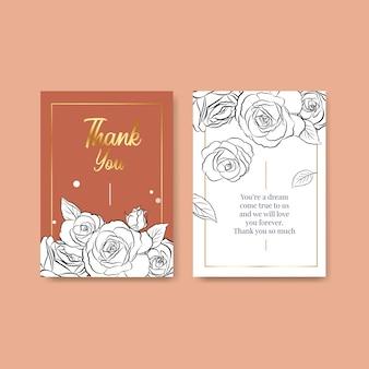 Plantilla de tarjeta de agradecimiento con flor de arte lineal