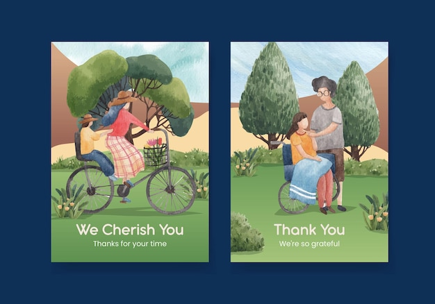 Plantilla de tarjeta de agradecimiento con ilustración de acuarela de diseño de concepto de parque y familia